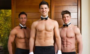 Three topless men