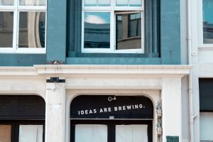 Building with 'Ideas Are Brewing' written on it